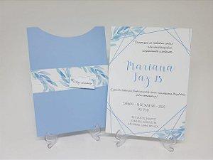 Convite moderno Azul Serenity folhagens