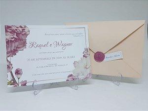 Convite de casamento Rosê com Lacre Cera