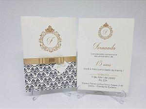 Convite debutante preto e dourado perolado