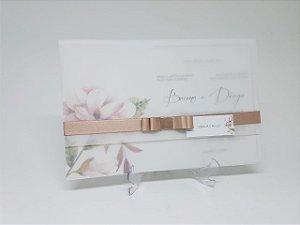 Convite casamento papel vegetal Rosê