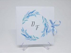 Convite de casamento azul serenity flores