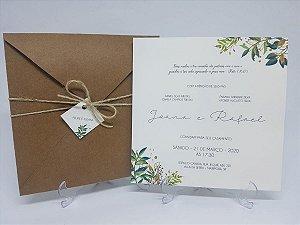 Convite de casamento rustico barato com folhas