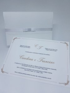 Convite classico Branco e Dourado linho 240g