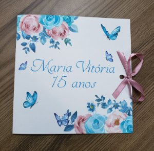Convite debutante borboletas tiffany e rosa