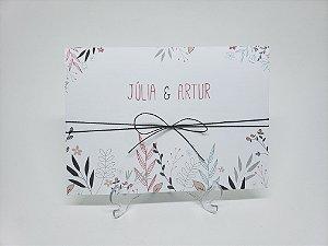 Convite casamento minimalista flores ramos