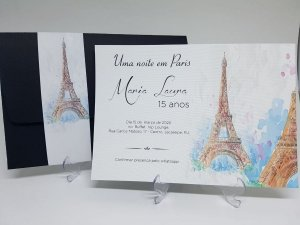 Convite Paris 15 anos preto