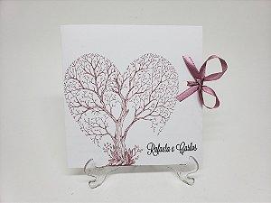 Convite de casamento árvore de coração