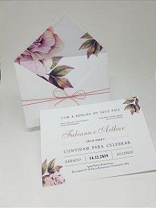 Convite casamento forrado flores