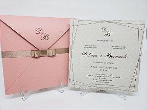 Convite de casamento Rosê e marrom clássico