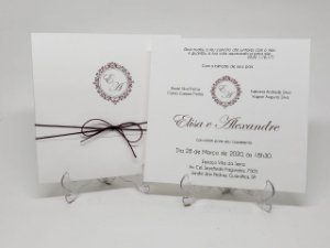 Convite casamento classico marsala com cordão