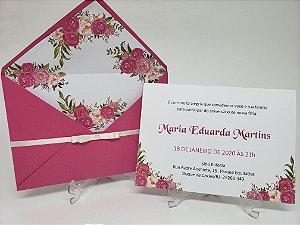 Convite de aniversario pink floral chique forrado