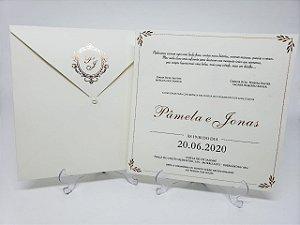 Convite casamento classico rose gold metalizado