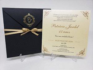 Convite de 15 anos preto e dourado brasao metalizado
