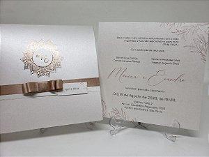 Convite casamento Rosê Gold metalizado Hotstamping