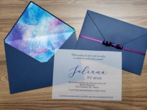 Convite 15 anos galaxia vegetal aquarela