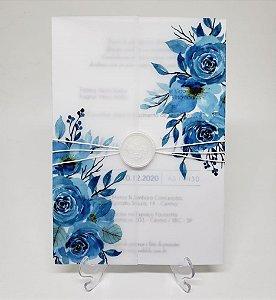 Convite casamento azul com lacre de cera papel vegetal