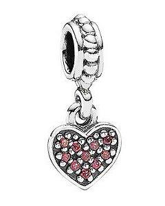 Charm Pendente Coração Rosa