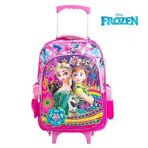 Mochila Infantil Escolar 3D Com Rodinhas Frozen Elsa e Anna