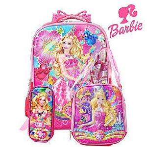 Kit Mochila Infantil Escolar 3D Com Rodinhas Barbie