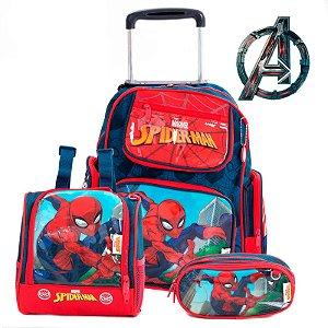 Kit Mochila Escolar Infantil Com Rodinhas Homem Aranha Marvel