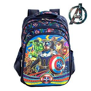 Mochila Infantil 3D Escolar de Costas Avengers