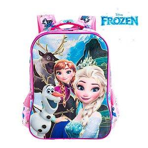 Mochila Infantil Escolar de Costas 3D Elsa e Anna Frozen