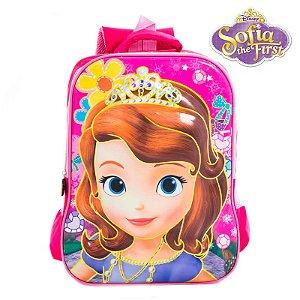 Mochila Infantil 3D Escolar de Costas Princesinha Sofia