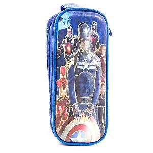 Estojo Infantil Escolar 3D Avengers Azul