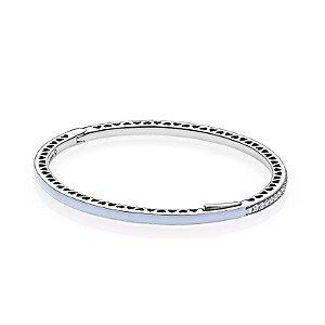 Bracelete Pandora Rígido Corações Radiantes Azul Céu PAND