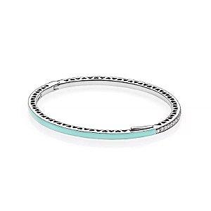 Bracelete Pandora Rígido Corações Radiantes Menta PAND