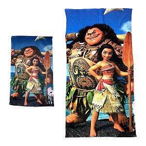 Kit Toalha de Banho e Mão Moana com Maui Felpuda Infantil Personagens