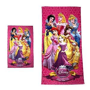 Kit Toalha de Banho e Mão Princesas Felpuda Infantil Personagens