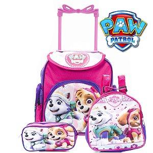 Kit Mochila Infantil Escolar Com Rodinhas Patrulha Canina Rosa