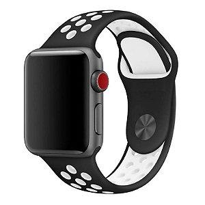 Pulseira Esportiva Para Apple Watch 42mm - Preto com Branco