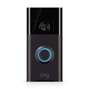 Campainha de Vídeo Câmera Ring HD Bronze Veneziano com Visão Noturna Infravermelho e Wifi