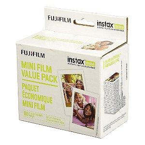 Papel Fotográfico Filme Instax Fujifilm Mini Instant com 60 Unidades