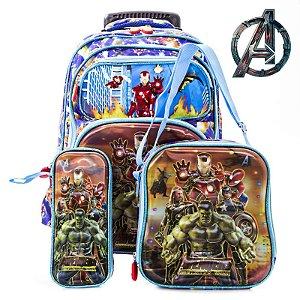 Kit Mochila Escolar Rodinhas  Vingadores Avenger 3d