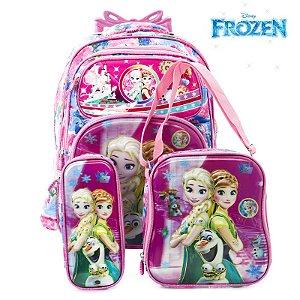 Kit Mochila Infantil Escolar 3D Com Rodinhas Frozen Rosa