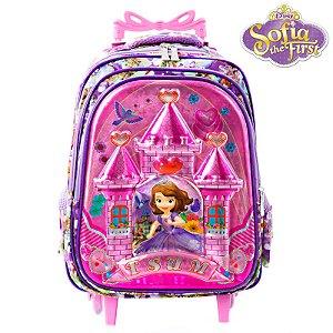 Mochila Infantil Escolar 3D Princesinha Sofia Com Rodinhas