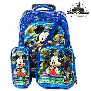 Kit Mochila Escolar Infantil 3D Mickey Com Rodinhas