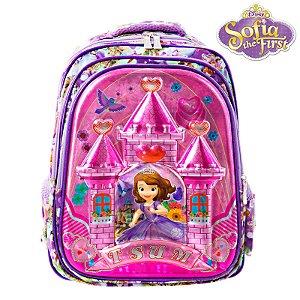 Mochila Infantil Escolar 3D Princesinha Sofia de Costas