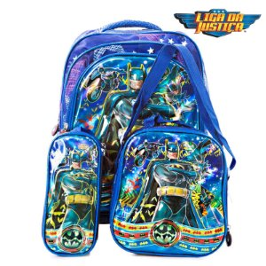 Kit Mochila Infantil Escolar 3D Batman de Costas