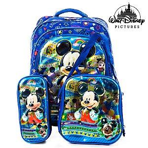 Kit Mochila Escolar Infantil 3D Mickey de Costas