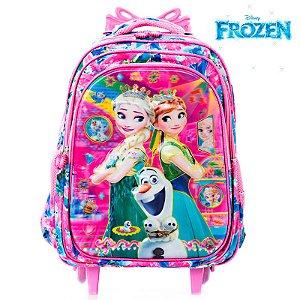 Mochila 3D Infantil Escolar Frozen Elsa e Anna Com Rodinhas