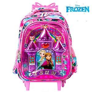 Mochila Infantil Escolar 3D Elsa e Anna Frozen Com Rodinhas