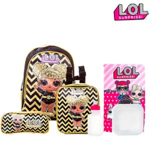 Kit Mochila Escolar Lol Boneca Surprise Glíter Infantil de Costas