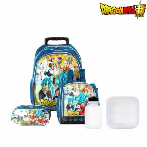 Kit Mochila Escolar Infantil Dragon Ball Super Com Rodinha