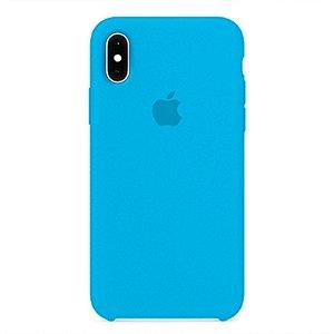 Capa para iPhone X em Silicone Apple Azul Bebe