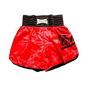Shorts de Muay thai Cetim Vermelho Brave Rudel Sports Tamanho P