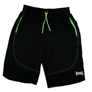 Bermuda Masculino Longer Preto e Verde Rudel Sports Tamanho P